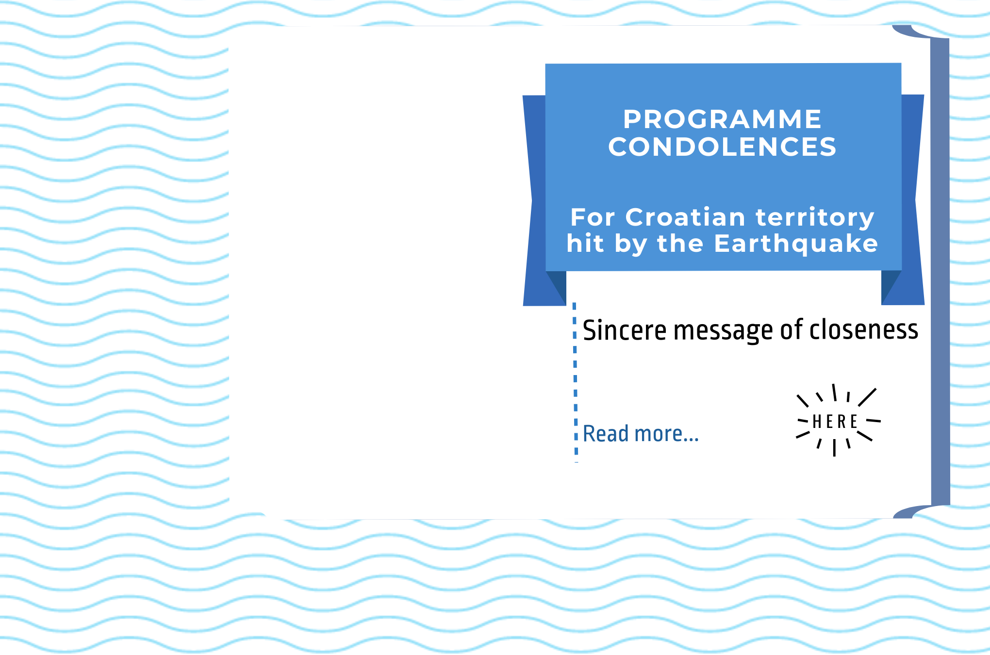 Programme condolences: for earthquake hit Croatian territories