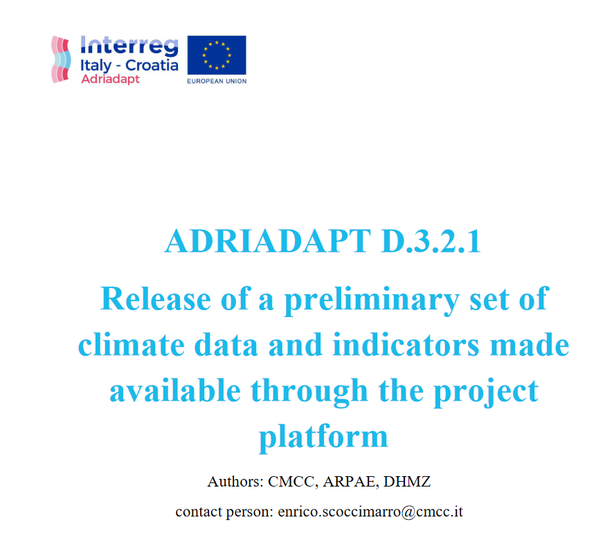 ADRIADAPT Deliverable: Release of a preliminary set of climate data and indicators made available through the project platform