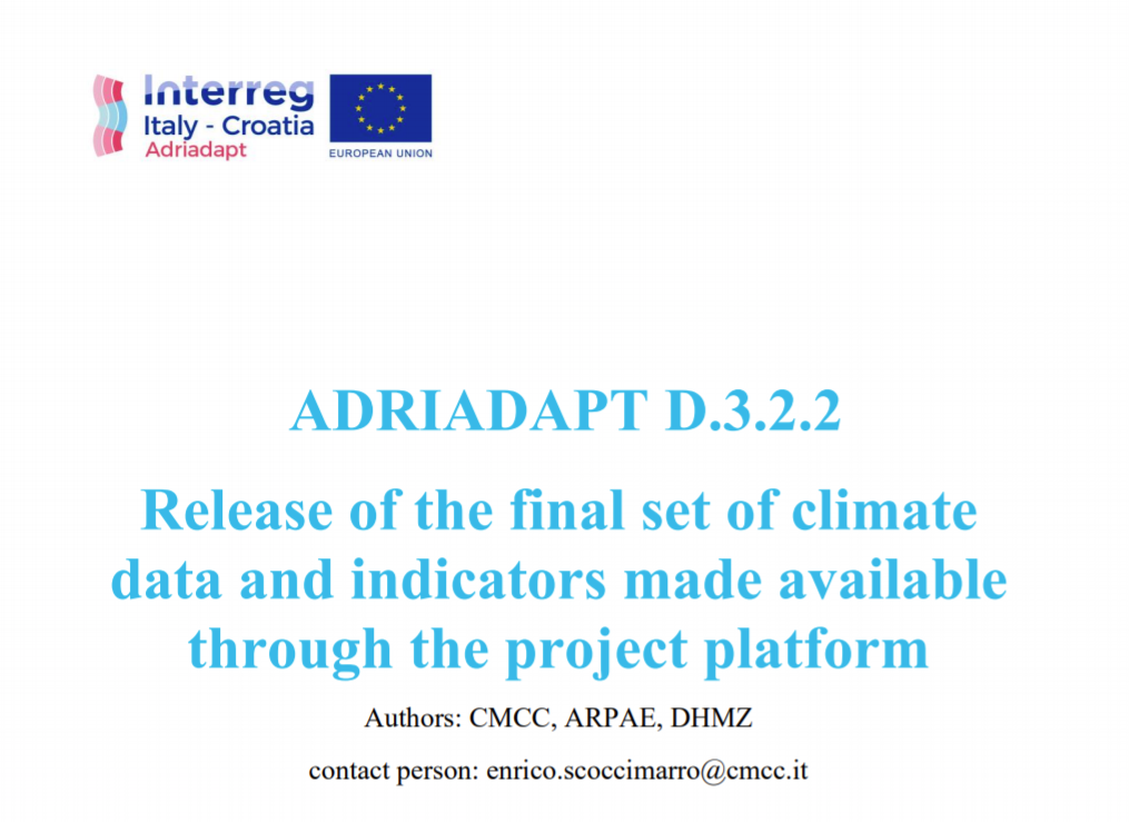 ADRIADAPT Deliverable: Release of the final set of climate data and indicators made available through the project platform
